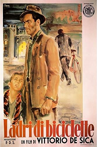 American Gift Services - Ladri di Biciclette Italian Bicycle Thieves Vintage Movie Poster - 18x24