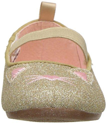 OshKosh B'Gosh Girls' Meow Glitter Cat Ballet Flat, Gold, 7 M US Toddler - Image 4