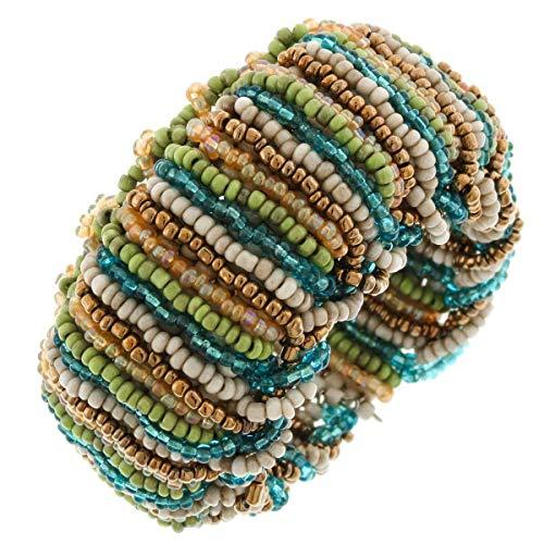Trendy Cream, Gold, Blue, Green, Bronze Handmade Seed Beads Flex Cuff Bracelet YE-3709