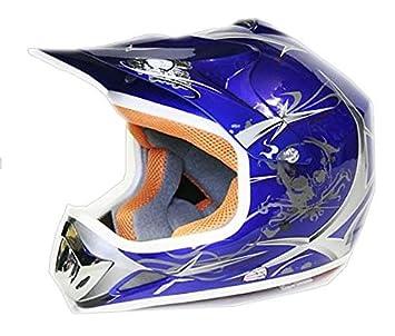 Casco Moto Cross Infantil para Niños M 53-54cm, Azul