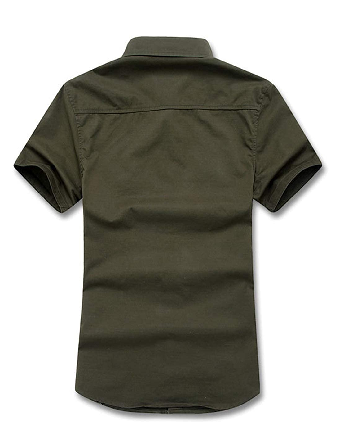 Yimoon Mens Military Loose Fit Button Down Short Sleeve Cargo Shirt
