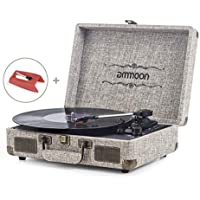 ammoon 3 Speed Turntable Blue Tooth Record Player with 2 Built in Stereo Speakers