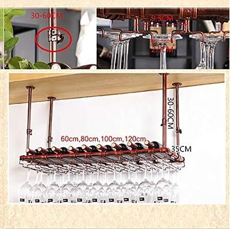 Estantería de vino Barra de colgar vino del estante del sostenedor del vidrio de vino, de Hogares de vidrio de vino rojo cáliz de la suspensión de cocina, bar, restaurante estante de vino pequeño