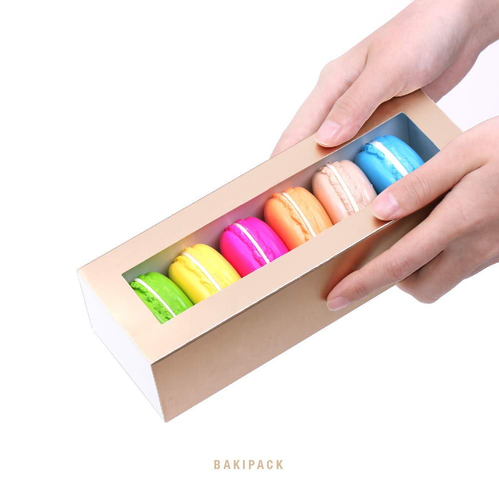 BAKIPACK Macaron Boxes for 6 Macarons (Pack of 25) Gold Macaron Boxes with Interior Meament 7.25'' x 1.8'' x 1.75'' Macarons Box with Clear Window (without Macaron inside) by BAKIPACK (Image #2)