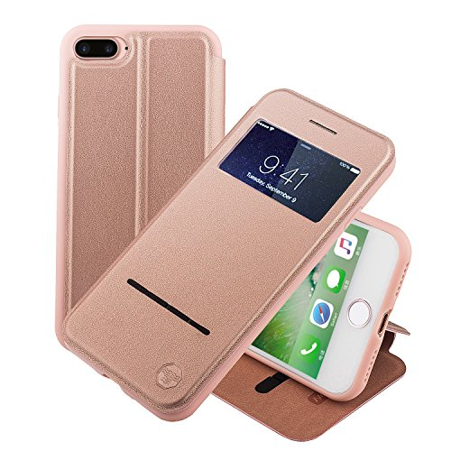 Nouske Swipe Case for iPhone 7Plus iPhone 8Plus with Stand/Window View/Magnetic Closing/TPU Bumper/Flip Full Cover Rose Gold