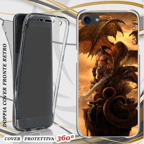 CUSTODIA COVER CASE WARRIOR WITH DRAGON PER IPHONE 7 FRONT BACK