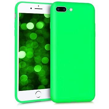 kwmobile Funda para Apple iPhone 7 Plus / 8 Plus - Carcasa para móvil en [TPU Silicona] - Protector [Trasero] en [Verde neón]