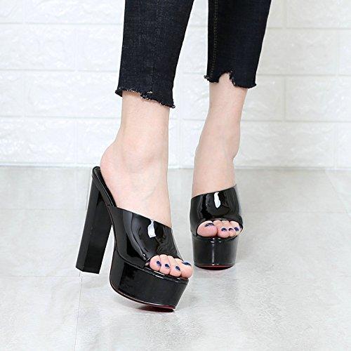 KHSKX-Todo Partido Simple Nuevas Sandalias De Verano La Nueva Piel Brillante Con Grueso Impermeable Zapatos Zapatos Para Caminar Home Furnishing ShoppingTreinta Y OchoBlack