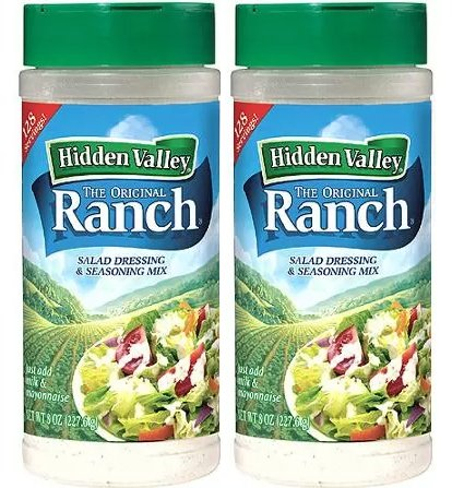 Hidden Valley Original Ranch Seasoning and Salad Dressing Mix, Two 8 Ounce Canisters (16 Ounces Total) by Hidden Valley