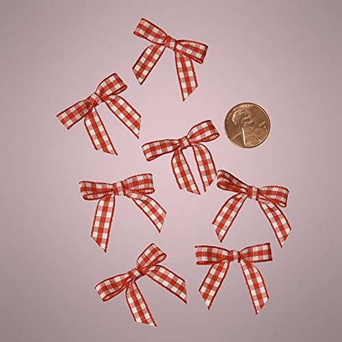 Mini Red and White Gingham Checkered Bows (50)