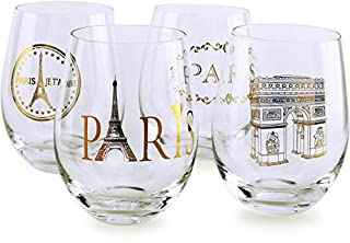Circleware 77026 Paris Stemless Wine Glasses, Set of 4 Drinking Glassware for Water, Juice, Beer, Liquor and Best Selling Kitchen & Home Decor Bar Dining Beverage Gifts, 18.9 oz, Gold (B07FMQ2N3W) | Amazon price tracker / tracking, Amazon price history charts, Amazon price watches, Amazon price drop alerts