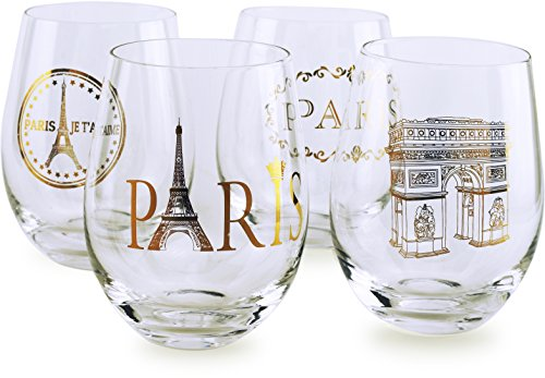 Circleware 77026 Paris Stemless Wine Glasses, Set of 4 Drinking Glassware for Water, Juice, Beer, Liquor and Best Selling Kitchen & Home Decor Bar Dining Beverage Gifts, 18.9 oz, Gold - Paris Wine Glass