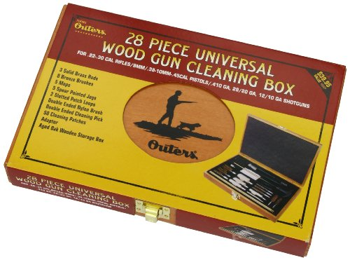 OUTERS Universal .22 & Up 28-Piece 70082 Gun Cleaning Kit In Wooden Box by Bushnell