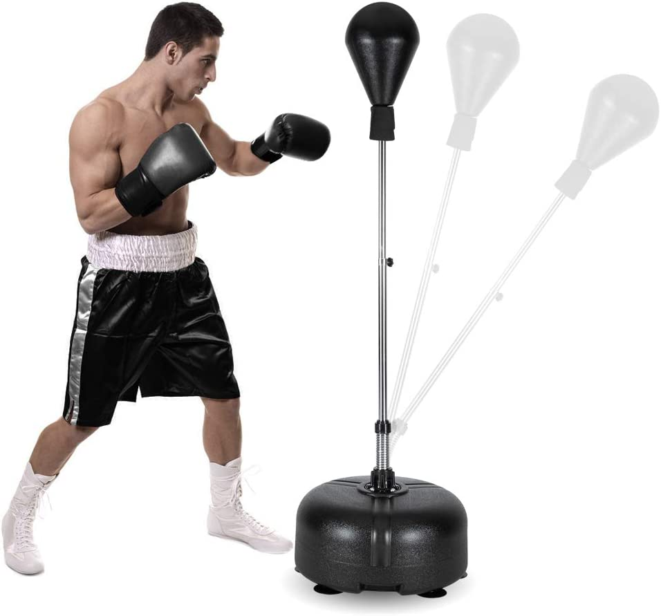 Freestanding Boxing Ball Reflex Bag,Adjustable Punching Bags Speed Ball,with Stand For Adult And Kids Fitness Boxing Training Color:red