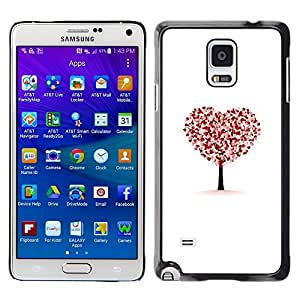 LECELL--Funda protectora / Cubierta / Piel For Samsung Galaxy Note 4 SM-N910 -- Heart Tree Autumn Fall White Love Deep --