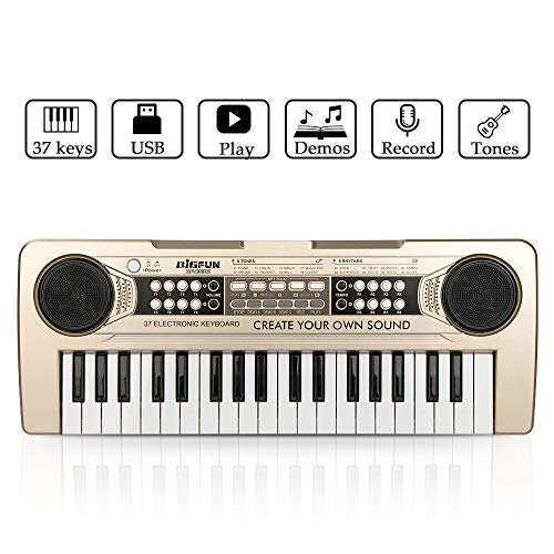 JINRUCHE Piano for Kids, 37Keys Multi-Function Electronic Keyboard Piano Play Piano Organ with Microphone and U-Disk Play Music Educational Toy for Toddlers Kids Children -
