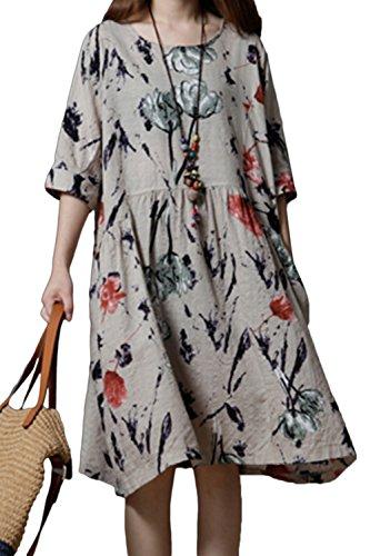 Et Robes des Coton Patineur De Mini Florales Beige Le qZz1atwz
