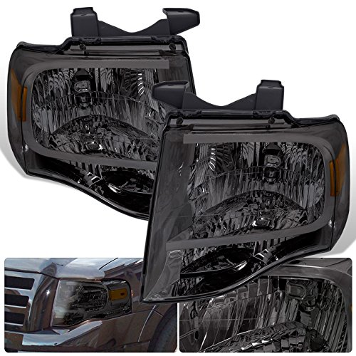 For Ford Expedition Headlights Chrome Housing Amber Corner Signal Turn Park Reflector Smoke Smoked Lens Replacement Front Driving Pair ()