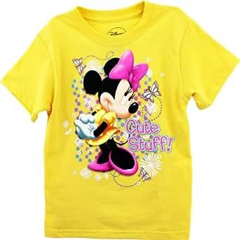 "Amazon.com: Disney Minnie Mouse ""Cute Stuff"" Yellow Kids T ..."