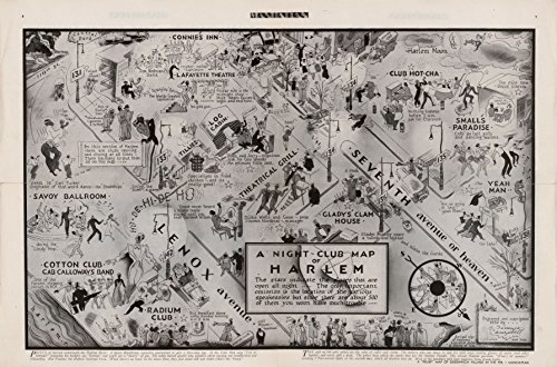 1933 18 x 23 Old Vintage Antique Map A Night-Club map Harlem Professional Reprint a3536 by Vintography