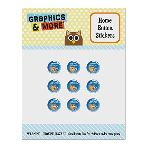 Did You Catcall Me Cat with Phone Set of 9 Puffy Bubble Home Button Stickers Fit Apple iPod Touch, iPad Air Mini, iPhone 5/5c/5s 6/6s 7/7s Plus