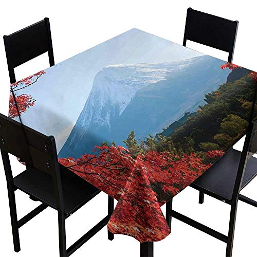 StarsART 3D Printed Tablecloth Landscape,Mountain Fiji with Snowcapped Summit and Lake Maple Trees in Autumn,Paprika Blue and Green D50,Spillproof Fabric Tablecloth