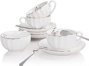 SWEEJAR Ceramic Tea Cups and Saucers Set(Pure White)