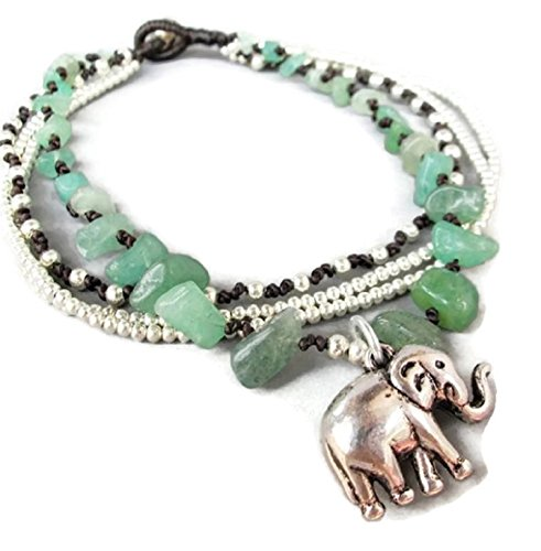 Hot! 100% Handmade Thailand Casual Multi Strand Elephant Charm Aventurine and Silver Color Bead Ankle Bracelet for Party, Wedding, Birthday, Anniversary, Gift, Daily Wearing and - Sunglasses Swaroski