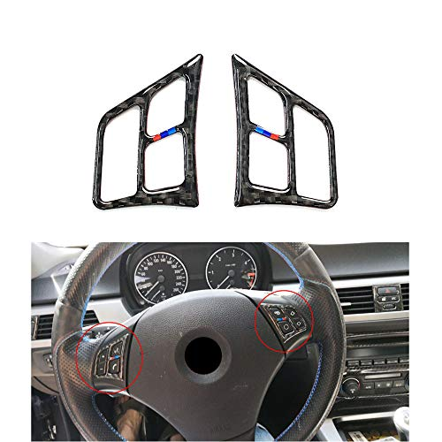 Thor-Ind Carbon Fiber Steering Wheel Buttons Frame Cover Trim Stickers for BMW Old 3 Series E90 E92 E93 2005-2012