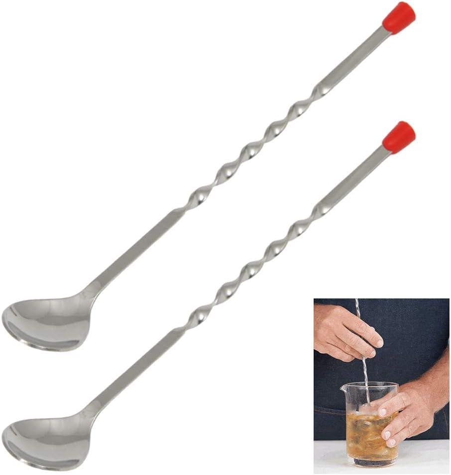 "2 X Stainless Steel Cocktail Muddler Mixed Spoon Bar Tool Mixing Stir Drinks 12/"""
