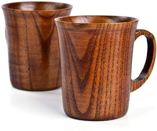 DirkFigge Solid Jujube Mug Wooden Coffee Beer Mugs Wood Cup Handmade Tea Cup with Handle
