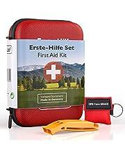 GoLab EHBO-set outdoor - survival kit. Sport & Travel First Aid Kit met noodmasker + signaalfluitje voor optimale eerste verzorging & tas - uit Duitsland volgens DIN 13167
