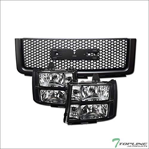 Topline Autopart Black Clear Housing Headlights Signal nb + Round Hole Mesh Front Hood Bumper Grill Grille ABS For 07-13 GMC Sierra 1500 / Denali ; 09-13 Hybrid