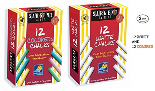 Sargent Art 12-count Colored Dustless Chalk and 12 Count White Dustless Chalk