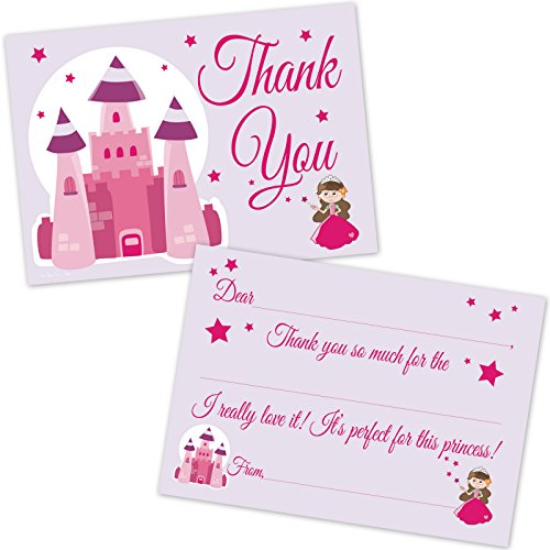 Princess Castle Kids Birthday Fill in Thank You Cards for Girls (20 Count with - Note Princess