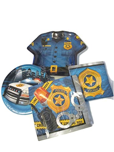 Police Themed Dessert and Lunch Plates, and Lunch and Beverage Napkins Bundle - Paper (Shirt Shaped Dinner Plates)