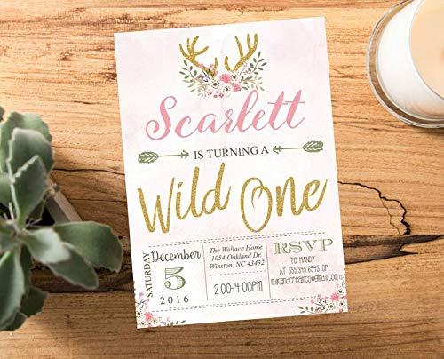 Pink Wild one Deer Antler Flowers First Birthday Party invite, Arrow Hipster Adventure Girls Printable Printed, Gold Rustic Wood #2002]()