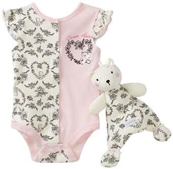 Vitamins Baby-girls Newborn Toile Heart Blankie Buddy 2 Piece Creeper Set With Blanket Buddy, Pink, 9 Months
