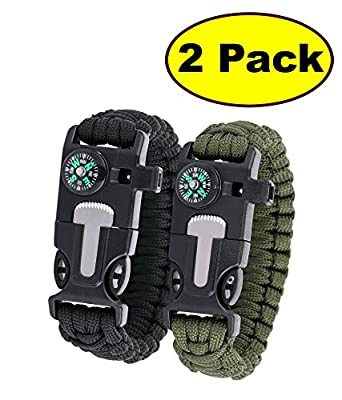 "JJMG 5 in 1 Multifunctional Paracord Bracelet with Compass Flint Fire Starter Scraper Whistle- Choose Length10"", 9"", 8""- 2 Pack"