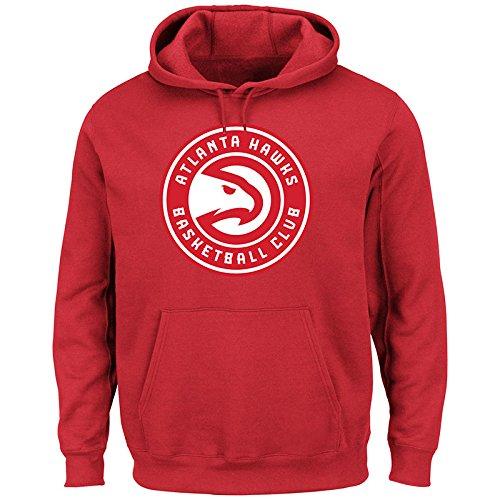 (NBA Atlanta Hawks Men's Tek Patch Long Sleeve Fleece Pullover Hoodie, Medium, Athletic Red)