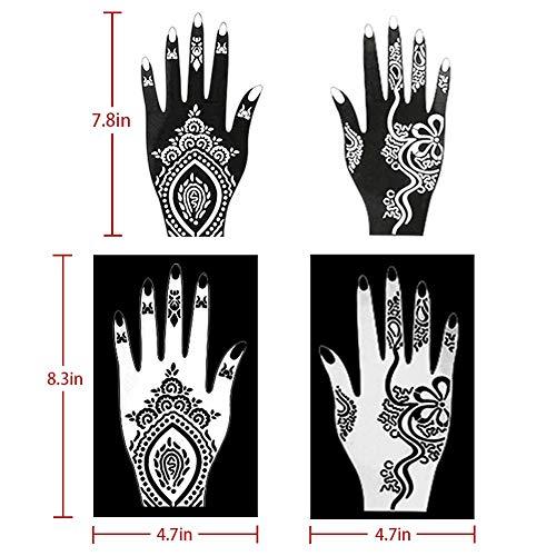 Koogel Henna Tattoo Stencil Kit,97pcs Temporary Glitter Airbrush Tattoo Stencils Arabian Tattoo Stickers for Face Paint Body Art