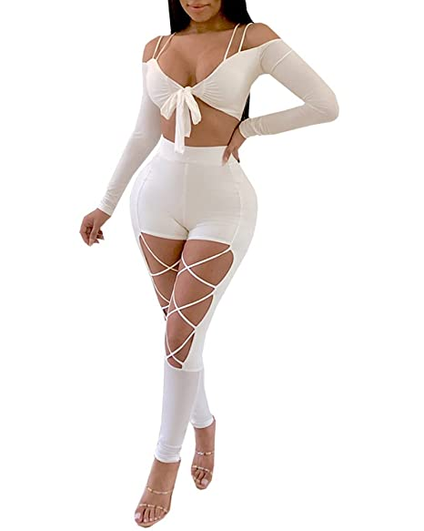 a3e5cd14a46 Amazon.com  Women s Sexy Clubwear Off Shoulder T-Shirt Crop Top + Criss  Cross Pants Jumpsuits 2 Pieces Outfits Rompers  Clothing