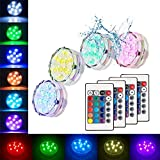 buy Submersible Led Lights Waterproof Multi-color Battery Remote Control, Party Perfect Decorative Lighting, Suitable for Aquarium Lights, Christmas, Halloween, Etc. IP68 Waterproof Rating (4Pack) now, new 2019-2018 bestseller, review and Photo, best price $15.49