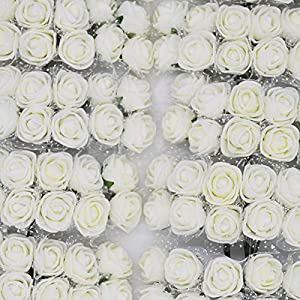144Pcs 2Cm Mini Foam Rose Silk Artificial Flower PE Rose DIY Bouquet Gift Box Wedding Decoration Scrapbooking Fake Flower 2 76