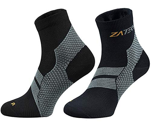 ZaTech Plantar Fasciitis Sock, Compression Socks for Men & Women. Heel, Ankle & Arch Support. Increase Blood Circulation, Reduce Swelling, Foot Pain Relief. (Black/Gray, Small)