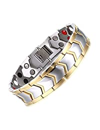 """Murtoo Titanium Magnetic Therapy Two Tone Gold Edge with Free Link Removal Tool, Gift for Men 8.4"""""""