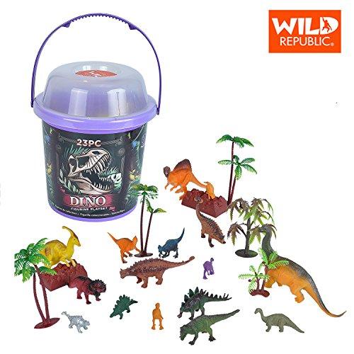 (Wild Republic Dinosaur Bucket, Dinosaur Animal Figurines Set, T Rex, Triceratops, Velociraptor, Spinosaurus, Stegosaurus & More, 23 Piece Set)