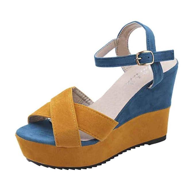 POLP Sandalias Cuña Verano 2019 Mujer Zapatos Tacón Bajo Cómodo Sandalias de Vestir con Hebilla Plataforma Alpargata Sandalias con Punta Abierta para Mujer ...