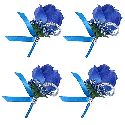 Febou Boutonniere 4PCS Wedding Boutonniere Handmade Rose Boutonniere Corsage with Pin and Clip for Groom Bridegroom Groomsman Perfect for Wedding, Prom, Party (4 Packs, Boutonniere-Royal Blue)