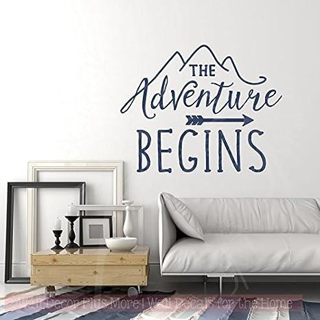 Camper Wall Art Adventure Begins Rv Decals Camping Decor Vinyl Art 30x23 Inch Deep Blue Arts Crafts Sewing Amazon Com